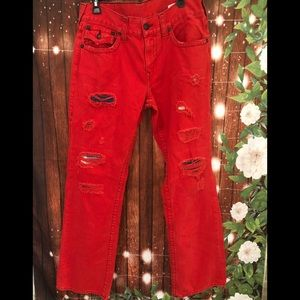 True Religion red straight leg jeans size 34